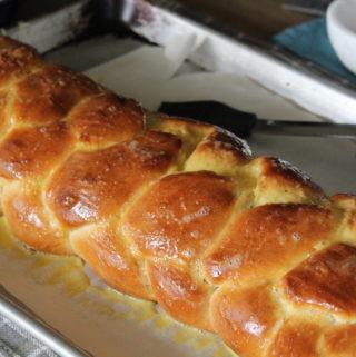 challah loaf on pan