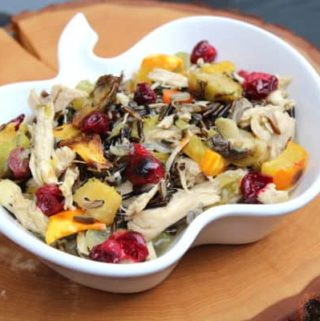 Chicken and Squash Stew with Cranberries in a pumpkin