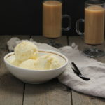 Eggnog Ice Cream in bowl with coffee in mugs