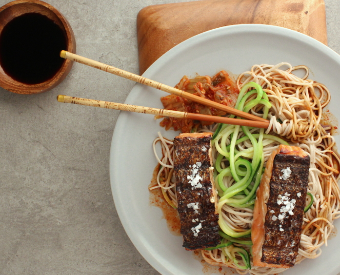 Miso Salmon with Noodles