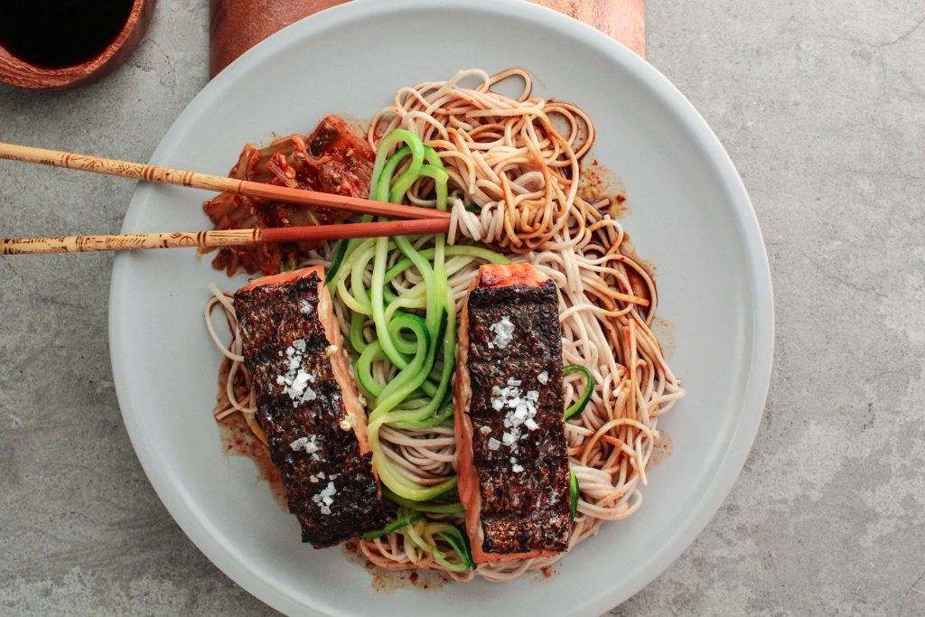 salmon and noodles in miso sauce