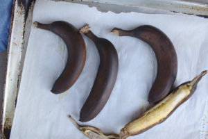 roast bananas, peels turn black
