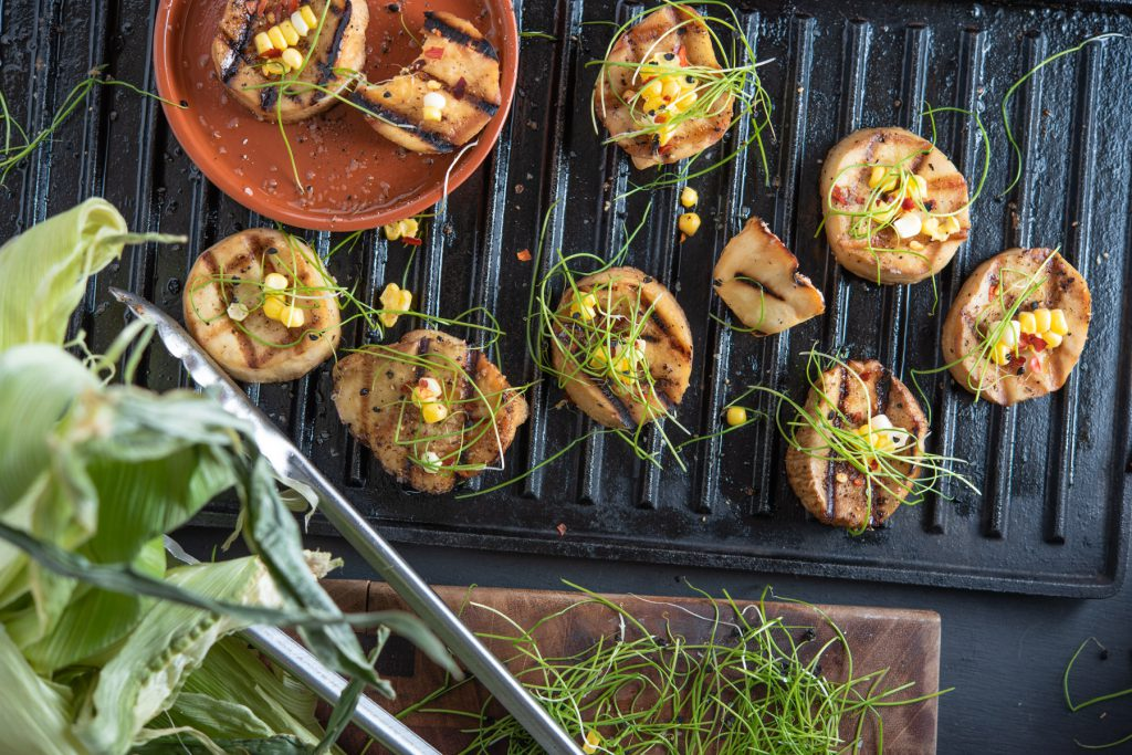 grilled trumpet mushrooms