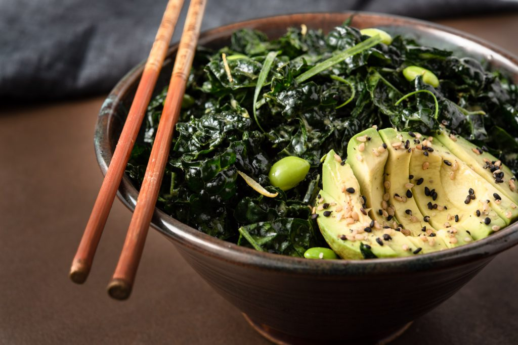 kale salad with ginger umami vinaigrette