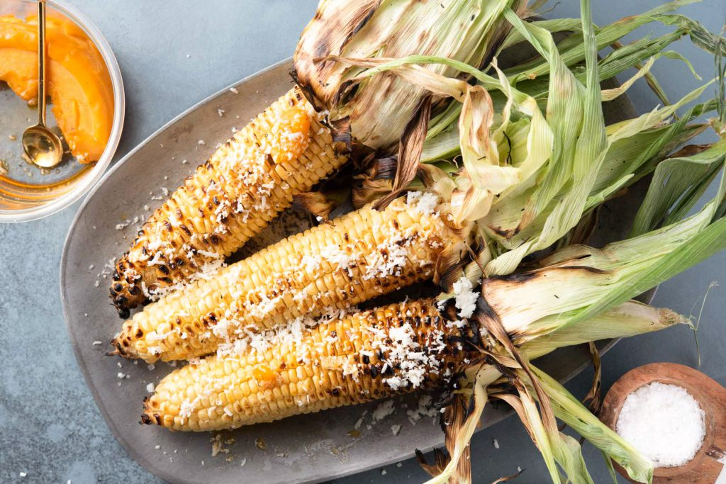 grilled corn with chilli oil