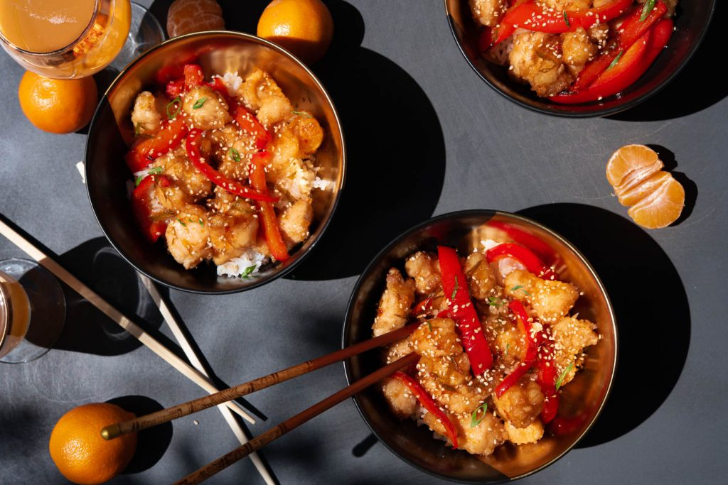 sweet and sour orange chicken with sesame
