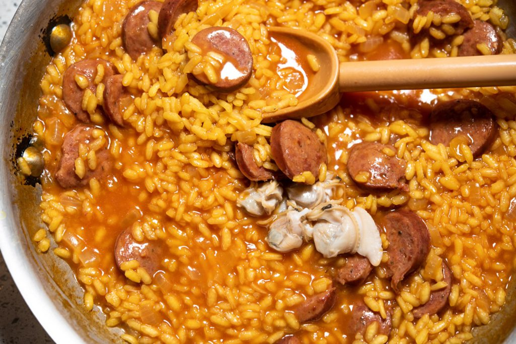 saffron risotto with clams and sausage