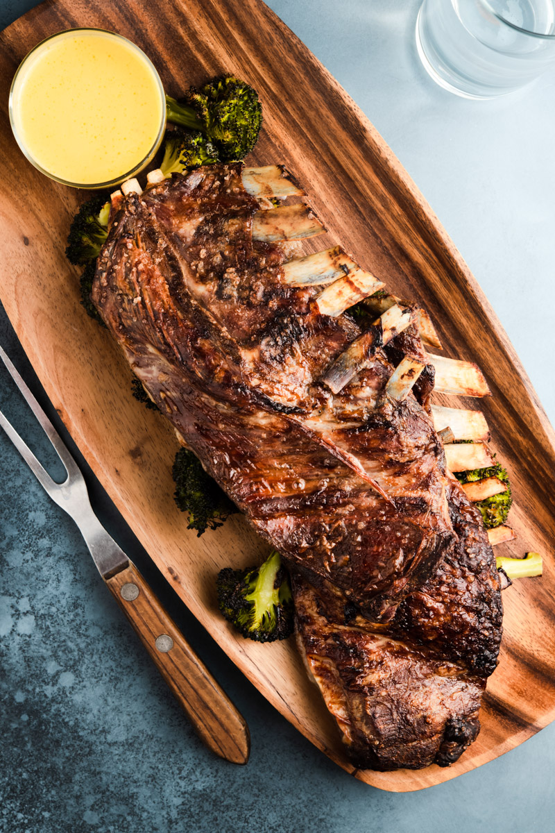 lemon roasted lamb ribs with garlic and roasted broccoli