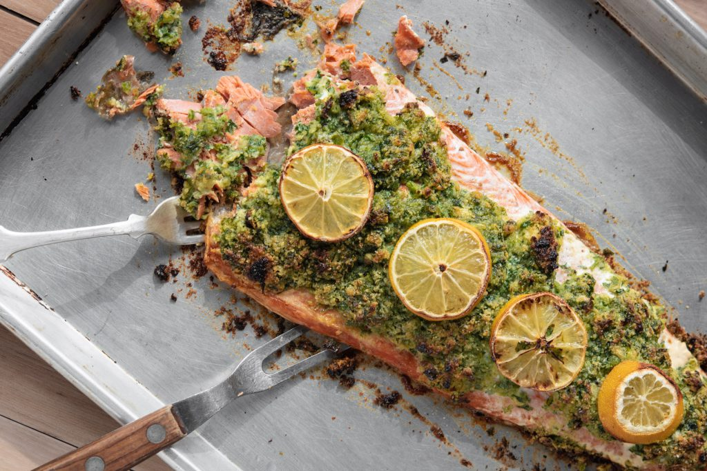 salmon with parsley