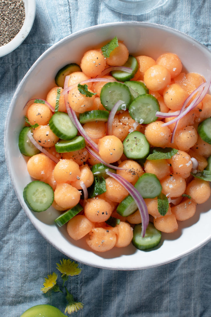 melon salad with cantaloupe, mint, and cucumber