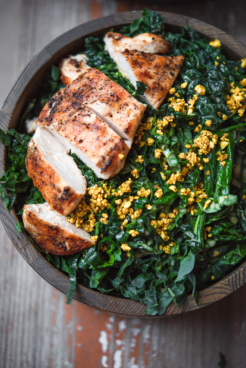 tuscan kale salad with grilled chicken