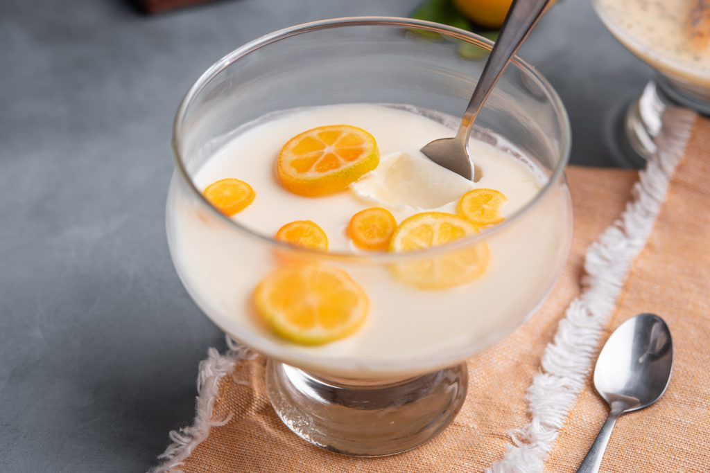 lemon posset with kumquats
