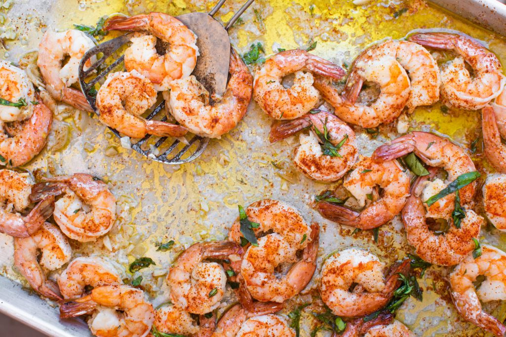 sheetpan garlic shrimp