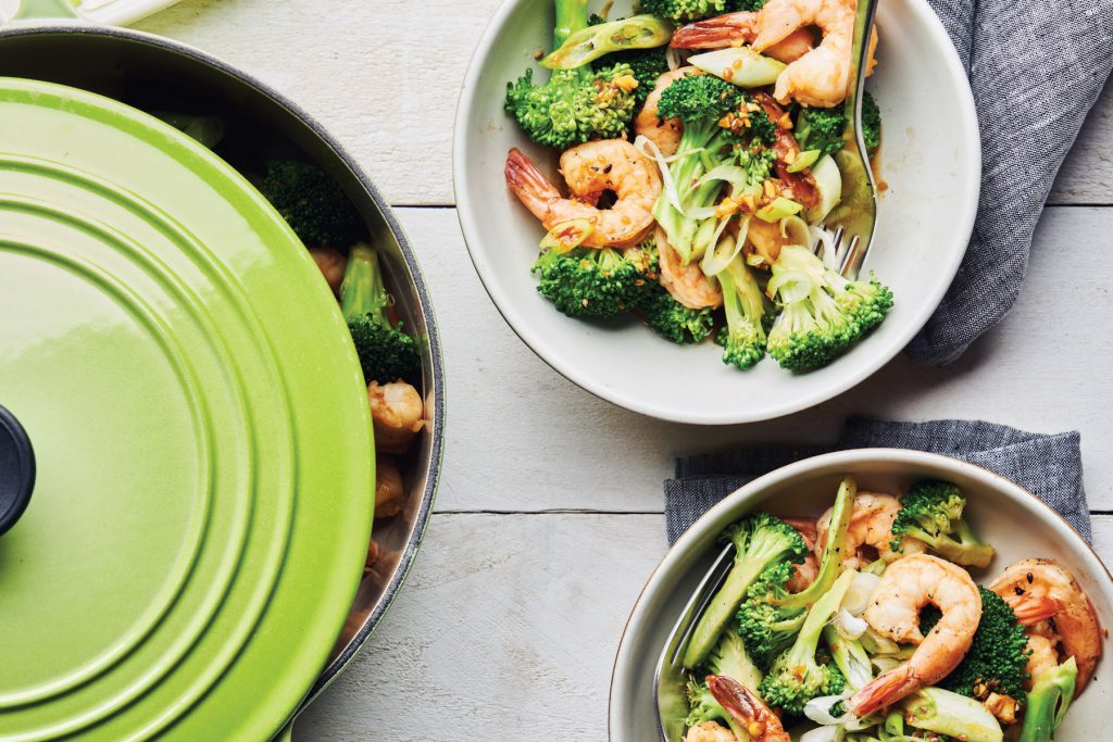 honey garlic glazed shrimp and broccoli