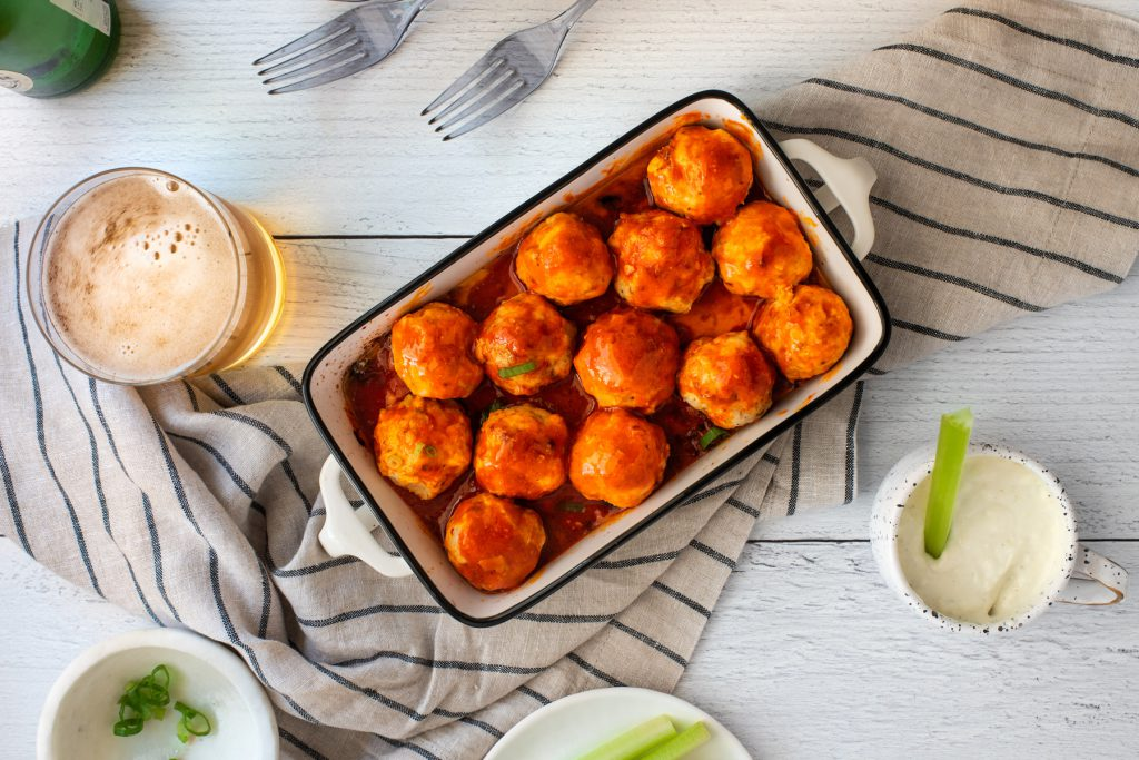 chicken meatballs with buffalo sauce