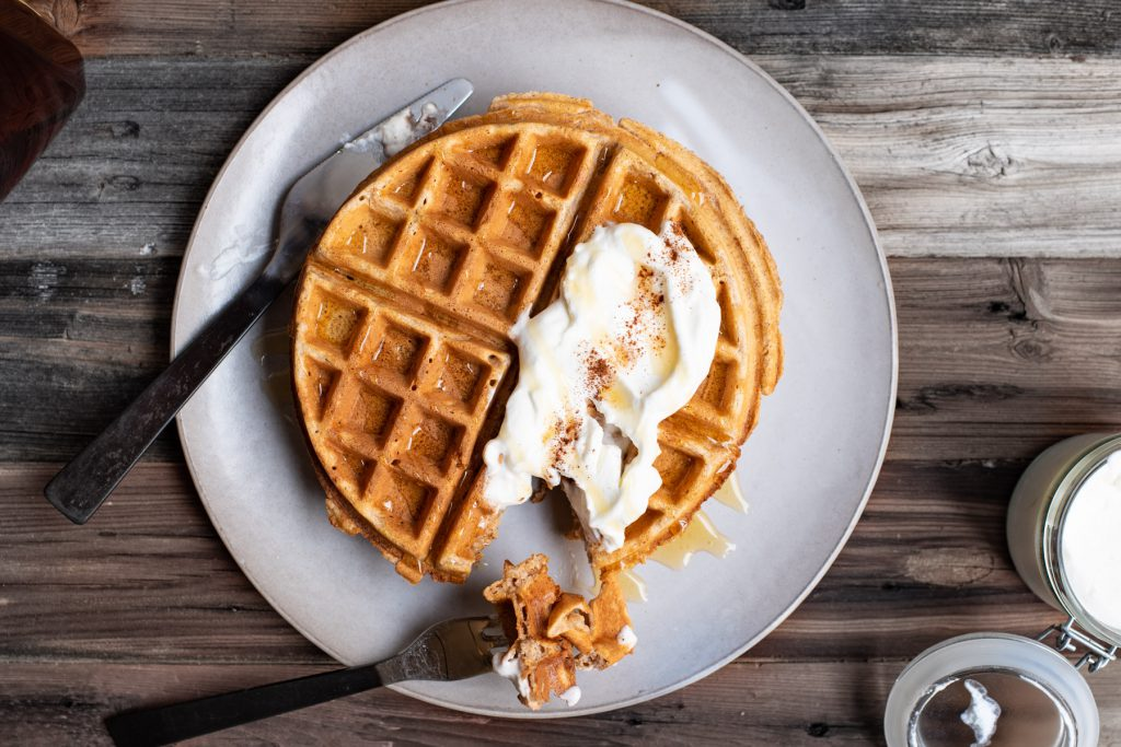 fluffy whole wheat waffle