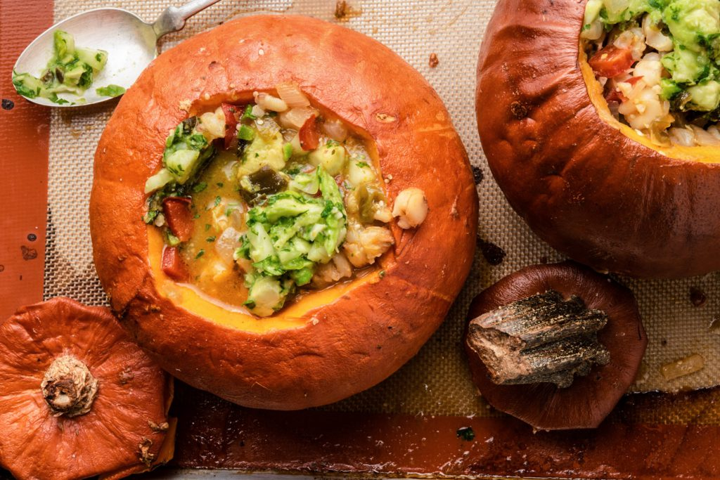 pumpkin stew roasted in a pumpkin