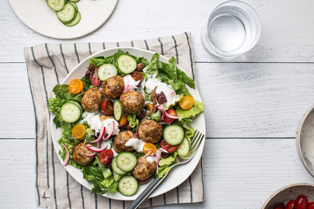 turkey meatball salad with yogurt dressing