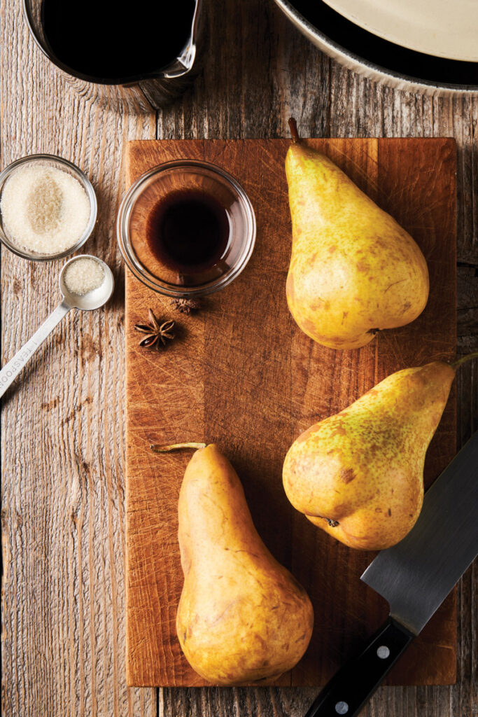 bosc pears on cutting board