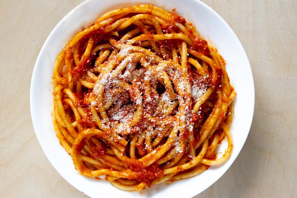 bucatini with homemade tomato butter anchovy sauce