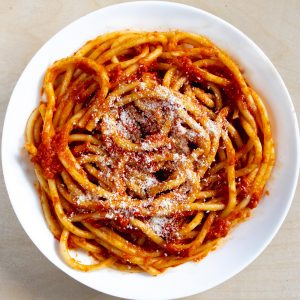 Bucatini with butter tomato sauce