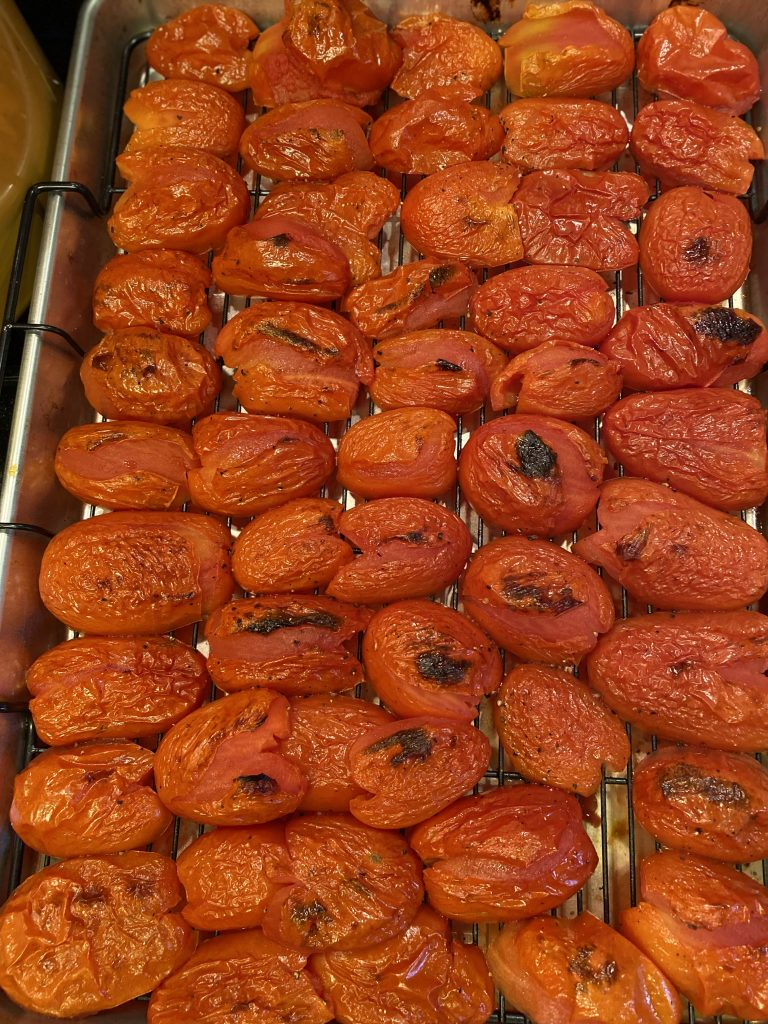 Roma tomatoes roasted until blistered
