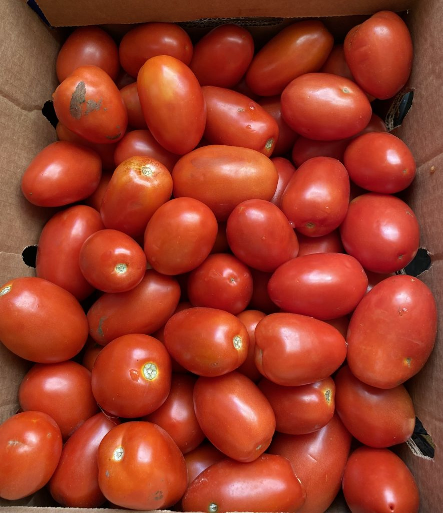 box of ripe Roma tomatoes