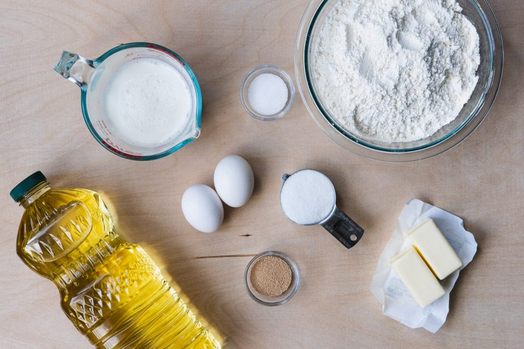 Canola oil, milk, eggs, sugar, yeast, all-purpose flour, butter, salt